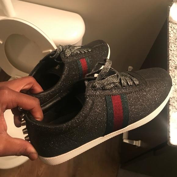 Gucci Ace Black Web Glitter Sneakers